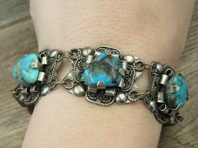 Vtg Antique Circa 1930's Mexico Sterling Silver Turquoise Nugget Navajo Bracelet