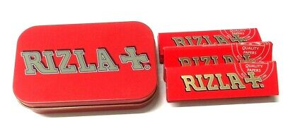 RED RIZLA BACCY CIGARETTE TOBACCO HINGED STASH METAL TIN with 3 x ROLLING PAPERS
