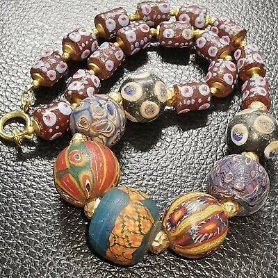 Stunning Mosaic old wonderful Unique beads Lovely Necklace