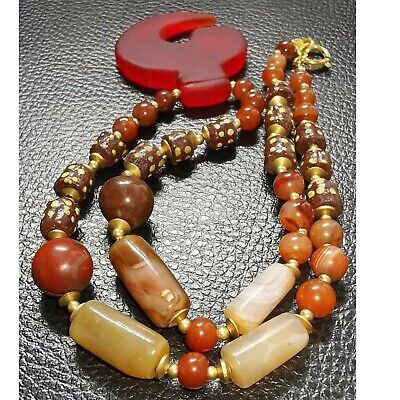 Old Agate wonderful stone beads Necklace with Glass amulet pendant