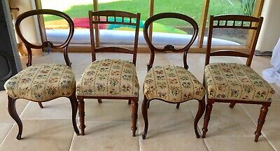 Four Antique Victorian Side Chairs, Two Mahogany Plus Two (Rosewood)?