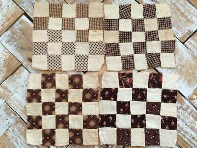 ~Back In Time Textiles~4 Antique early to mid 1800's Quilt blocks doll quilts~