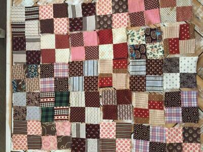 """~Back In Time Textiles~ 30 Antique 1860 tiny """"Four Patch"""" quilt blocks calico"""