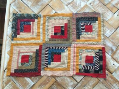 """~Back In Time Textiles~Antique 1860-80 """"Log Cabin"""" cutter quilt piece"""