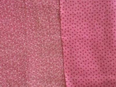 ~Back In Time Textiles~2 Different Antique 1870-90 Cinnamon Double pink fabrics