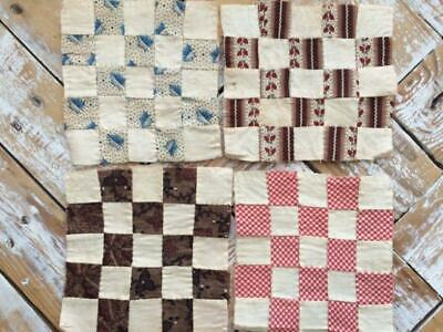 ~Back In Time Textiles~4 Antique early to mid 1800's Quilt blocks dolls quilts~