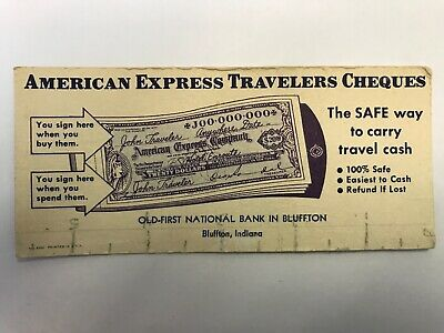 Vintage Ink Blotter American Express Travelers Cheques Bluffton Indiana IN