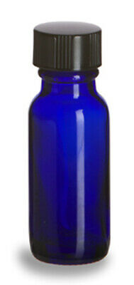1/2 OZ (15 ml) Blue Glass Boston Round Bottle with Cone Lined Cap  40 Quantity