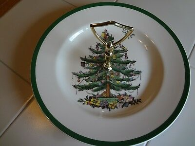 Spode Christmas Tree Tidbit Serving Tray W/Handle Made in England