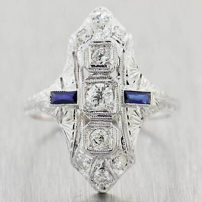 1930's Antique Art Deco Diamond & Sapphire Filigree Cocktail Ring