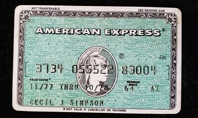 American Express Green Credit Card exp 1978 ♡Free Shipping♡cc186