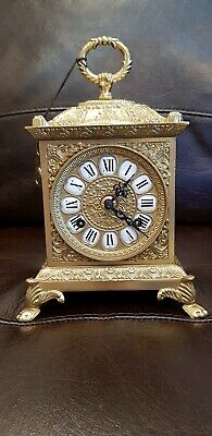 ANTIQUE LOUIS XV Rococo Brass Mantel Carriage Clock by Imperial & Franz Hermle