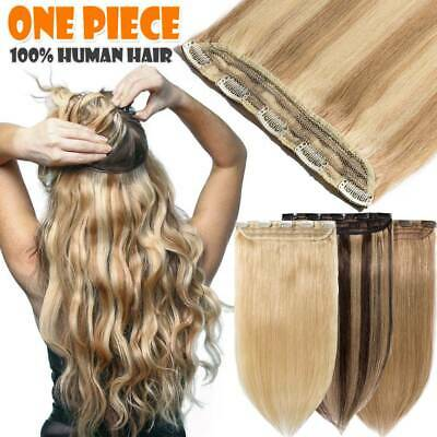 INVISIBLE One Piece Clip In Remy Human Hair Extensions 3/4Full Head Long Weft UK