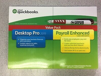 Intuit QuickBooks Desktop Pro 2019 with Enhanced Payroll - New Sealed Retail Box