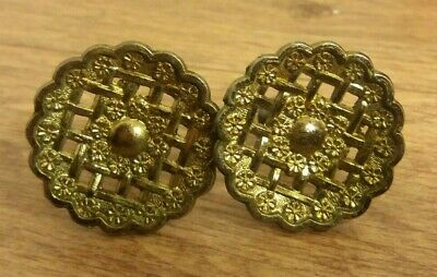 Antique Door Handles X 2 Brass Old Cupboard Draw Vintage Reclaimed Architectural