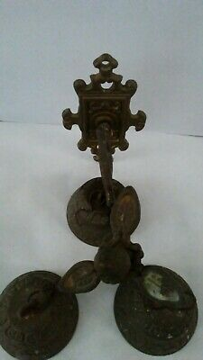 Antique Vintage Hanging Brass 3-Bell Wall Mount