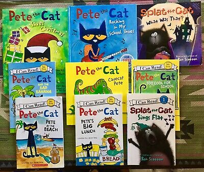 9 Children's Books-PETE THE CAT(7) & SPLAT THE CAT(2) Christmas & Halloween