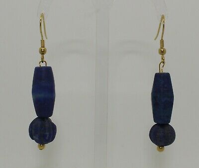 Ancient Carved Lapis Lazuli Bead Earrings - 012