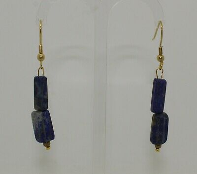 Ancient Carved Lapis Lazuli Bead Earrings - 013