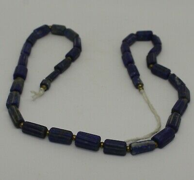 Ancient Carved Lapis  Bead Necklace - 21