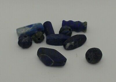 10 Ancient Carved Lapis  Beads -  0221