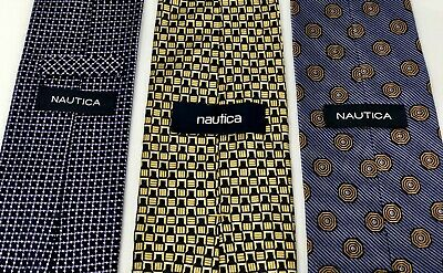 LOT OF 3 NAUTICA Men's 100% Silk Ties - 2 Navy Blue Print & 1 Yellow/Gold Print