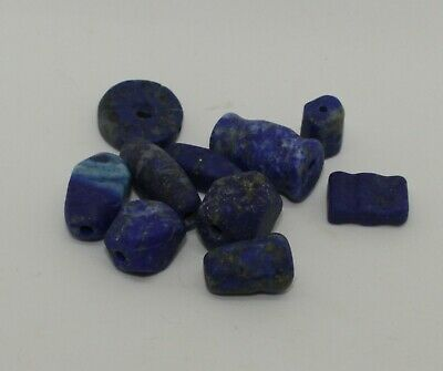 10 Ancient Carved Lapis  Beads -  0222