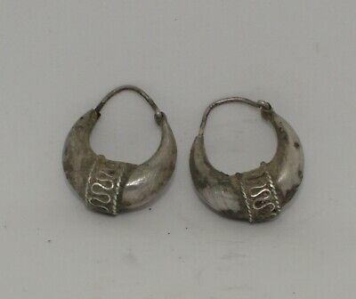 Pair Of Ancient Byzantine Silver Earrings 12Th Century Ad   2101