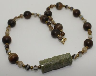 Ancient Seal & Agate Bead Necklace - Circa 2Nd Century Ad -  01
