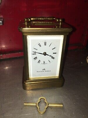 Quality Matthew Norman London Swiss Made 1754 Carriage Clock & Key - Working NR