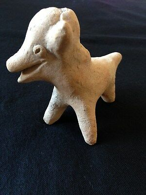 Pre-Columbian Colima Standing Dog Effigy Whistle, ca. 200 BC - 250 AD. NICE!