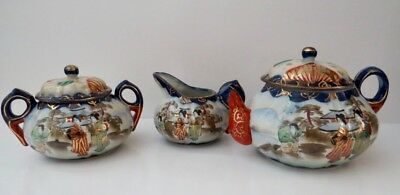 Hand painted Tea Pot with Sugar / Cream Bowls, Gold Trim Made in Japan