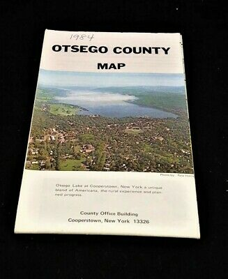 Vintage 1984 Map OTSEGO COUNTY New York Cooperstown
