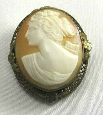 Art Deco Gold Wash Sterling Silver Cameo Filigree Brooch Pin