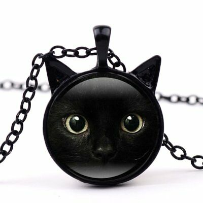 Women Charms Black Cat Gem Metal Animals Necklaces Pendant Chain Jewlery Gift