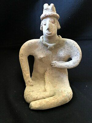 Pre-Columbian Colima Seated Figure 100 BC - 250 AD, solid clay.  VERY NICE!