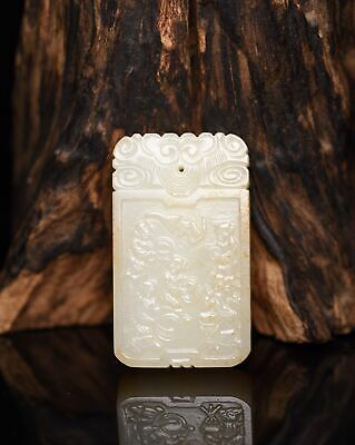 Chinese Exquisite Hand carved children Carving Hetian jade pendant