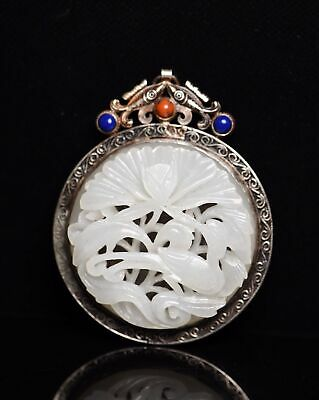 Chinese Exquisite Hand carved Crane Carving silver mosaic Hetian jade Pendant