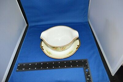Meito China of Japan Gravy Boat Hand Painted Floral Spray Gold Rim