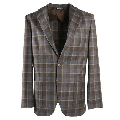 NWT $1550 FLANNEL BAY Napoli Gray Layered Check Soft Wool Sport Coat 42 R