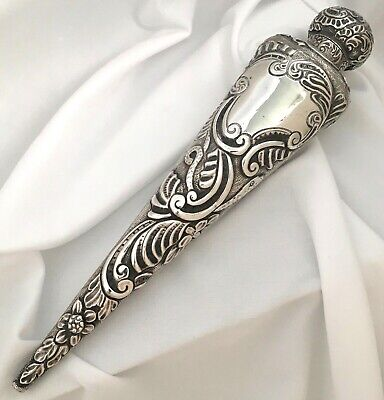 STUNNING Antique 1886 Sterling Silver Perfume Bottle Flask Horton Allday England