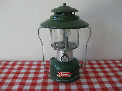 "1966 Retro ""Big Hat"" Green Double Mantle Coleman Camping Lantern Model 228F"