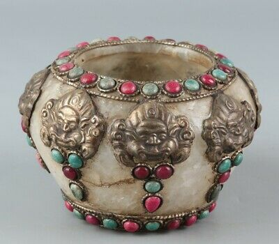 Chinese Exquisite Handmade crystal Inlay copper gem pot