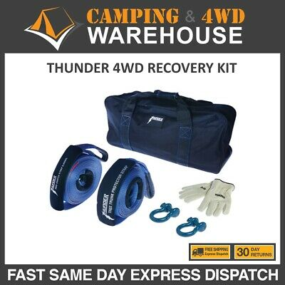 THUNDER 4WD Recovery Kit Snatch Straps Bow Shackles 4X4 - TDR04010