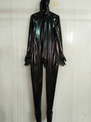 Latex Rubber Gummi Catsuit Overall Black Maske Ganzanzug Bodysuit Cosplay