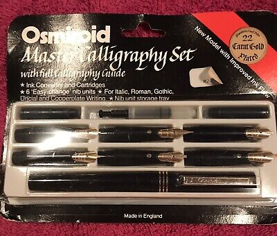 Osmiroid Master Calligraphy Set - 22k gold plated - vintage fountain pen, sealed