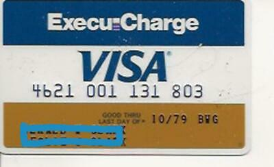 Vintage Visa Credit Card exp 1979 Execu-Charge Louisiana National Bank