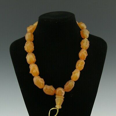 Chinese Exquisite Handmade Luohan agate necklace