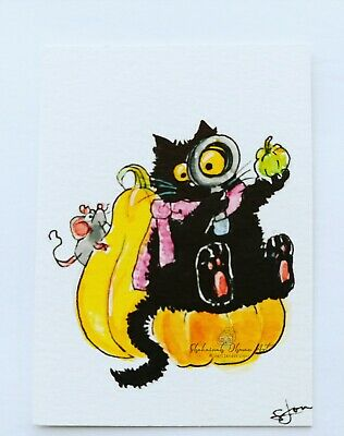 ACEO cat #322 ORIGINAL painting black cat mouse fall Halloween pumpkin whimsical