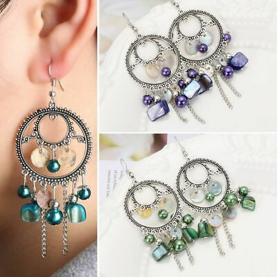 Large Boho Earrings Bohemian Gypsy Beaded Shell Dream Catcher Hook Chandelier